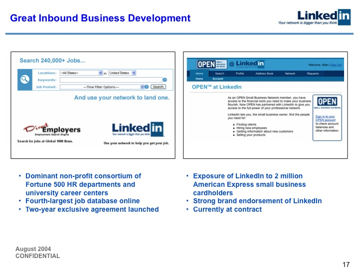 LinkedIn Series B Pitch Deck to Greylock: Slide 17