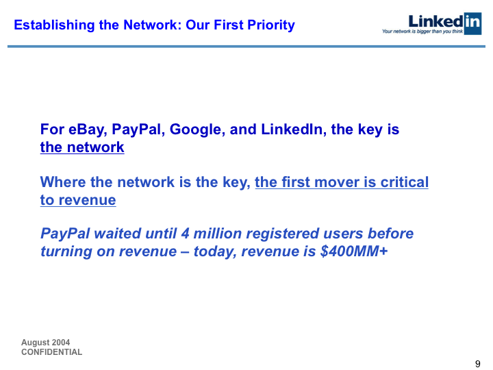 LinkedIn Series B Pitch Deck to Greylock: Slide 9